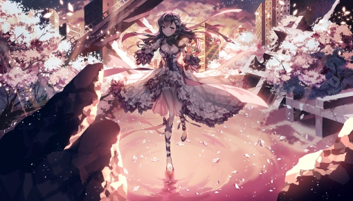 Konachan.com - 187373 bow breasts cleavage dress fate_stay_night instrument matou_sakura petals purple_eyes purple_hair ribbons ser323 violin