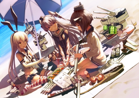 yande.re 293555 amatsukaze_(kancolle) anthropomorphization kantai_collection mocha rensouhou-chan shimakaze_(kancolle) thighhighs yukikaze_(kancolle)