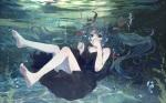 Konachan.com - 181358 aqua_eyes aqua_hair barefoot bou_shaku bubbles deep-sea_girl_(vocaloid) dress hatsune_miku long_hair ribbons twintails underwater vocaloid water