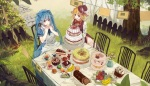 Konachan.com - 181369 2girls apple apron blonde_hair blue_eyes blue_hair blush bou_shaku bow cake dress drink food fruit grass hat leaves long_hair short_hair vocaloid