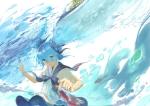 Konachan.com - 181409 animal blue_eyes blue_hair bottle_miku exe336 fish hatsune_miku seifuku vocaloid water