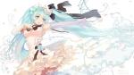 Konachan.com - 181585 blue_eyes blue_hair bow bzerox dress elbow_gloves hatsune_miku petals twintails vocaloid