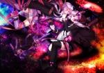 Konachan.com - 183577 bunny_ears purple_eyes purple_hair ribbons space tateshina_ryouko thighhighs vocaloid yuzuki_yukari