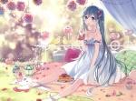Konachan.com - 183879 animal bird blue_eyes blue_hair dress flowers food grass hatsune_miku kyang692 long_hair petals twintails vocaloid