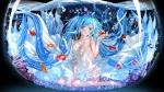 Konachan.com - 184082 animal barefoot blue_eyes blue_hair bubbles dress fish hatsune_miku long_hair signed swordsouls twintails vocaloid water