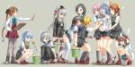 Konachan.com - 184211 akigumo_(kancolle) arai_harumaki blush kagerou_(kancolle) kantai_collection maikaze_(kancolle) panties skirt skirt_lift underwear urakaze_(kancolle)