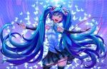 Konachan.com - 184485 blue_eyes blue_hair butterfly hatsune_miku indrix long_hair skirt thighhighs tie twintails vocaloid