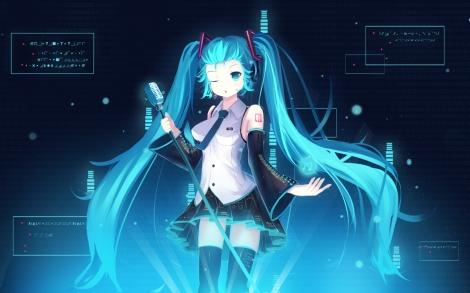 Konachan.com - 184554 blue_eyes blue_hair hatsune_miku microphone twintails vocaloid wink zerii_(cdcdqqq) zettai_ryouiki