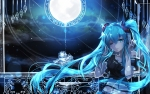 Konachan.com - 185817 blue_eyes blue_hair hatsune_miku headphones long_hair sen_ya stars twintails vocaloid wink