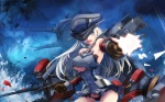Konachan.com - 187345 bismarck_(kancolle) blonde_hair blue_eyes gloves gun hat kantai_collectionweapon