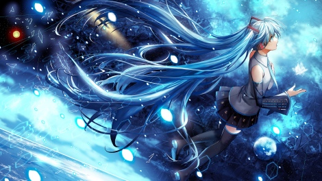 Konachan.com - 187827 blue_eyes blue_hair hatsune_miku headphones komecchi long_hair skirt thighhighs vocaloid