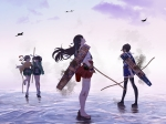 Konachan.com - 187828 aircraft akagi_(kancolle) bow_(weapon) clouds japanese_clothes kaga_(kancolle) kantai_collection sky thighhighs torn_clothes tsukumo water weapon