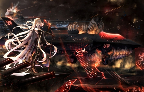 Konachan.com - 188214 aircraft aircraft_carrier_oni armored_aircraft_carrier_hime boyogo gray_hair kantai_collection long_hair red_eyes