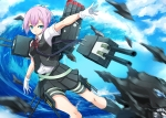 Konachan.com - 188377 asya blue_eyes gloves kantai_collection kneehighs pink_hair ribbons seifuku shiranui_(kancolle) short_hair skirt water