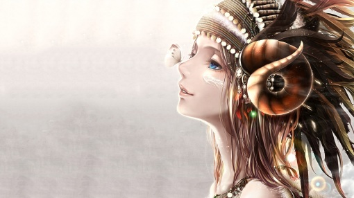 Konachan.com - 188753 blue_eyes bouno_satoshi brown_hair butterfly headband horns long_hair original