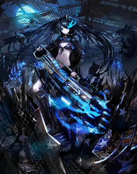 yande.re 296975 bikini_top black_rock_shooter black_rock_shooter_(character) jname vocaloid weapon