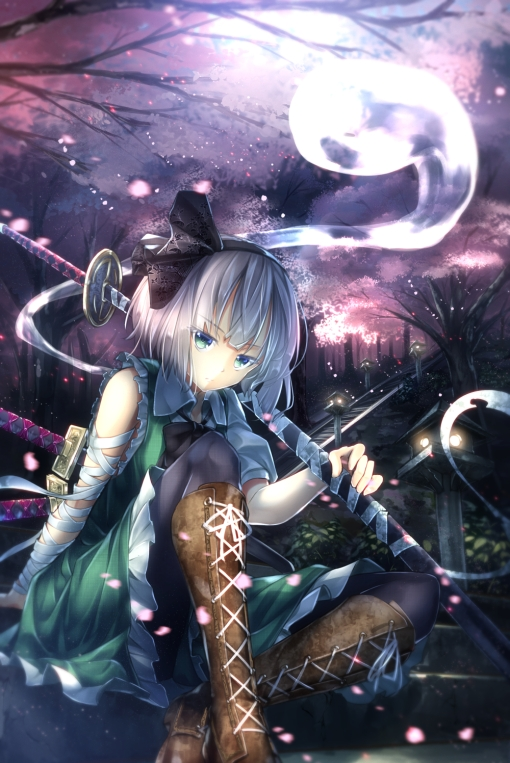 yande.re 298053 konpaku_youmu pantyhose ryosios sword touhou weapon