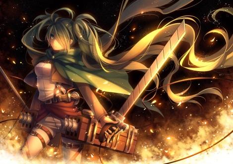 yande.re 299013 hatsune_miku parody shingeki_no_kyojin sword tid vocaloid weapon