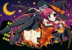 Konachan.com - 104965 ariko_yohichi breasts cleavage halloween hat moon nakahara_akane nakahara_kaede panties stars thighhighs trouble@spiral! underwear wings witch