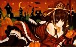 Konachan.com - 117382 animal bat bow breasts brown_hair building cleavage halloween headdress long_hair necklace orange pumpkin red_eyes ribbons thighhighs vector