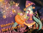 Konachan.com - 117533 blush elbow_gloves gloves green_eyes green_hair halloween hatsune_miku long_hair ruru_(tsuitta) thighhighs twintails vocaloid witch