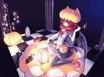 Konachan.com - 118070 animal animal_ears cat catgirl halloween need6699955 red_eyes red_hair tail thighhighs wings