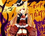 Konachan.com - 146440 akane_(naomi) animal_ears foxgirl halloween naomi_(sekai_no_hate_no_kissaten) original panties thighhighs underwear