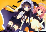 Konachan.com - 146493 2girls black_hair halloween inu_x_boku_ss navel pink_hair roromiya_karuta shirakiin_ririchiyo stockings tail thighhighs yukie