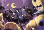 Konachan.com - 147415 gun halloween hat moon pumpkin sinchi tagme weapon witch