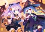 Konachan.com - 147525 alcot animal bat dress halloween hat manabe_kei moon purple_hair sawatari_nanagi tail takoyaki_(roast) thighhighs
