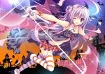 Konachan.com - 170974 breasts choker cleavage halloween long_hair nanaroba_hana navel original purple_eyes purple_hair skirt stockings thighhighs wand wink