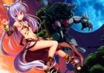 Konachan.com - 172161 animal_ears bicolored_eyes bikini foxgirl moon original sky stars swimsuit tail tree yuzu_modoki