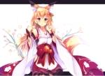 Konachan.com - 179496 animal_ears blonde_hair blue_eyes blush japanese_clothes kimono long_hair mikususannda original tail
