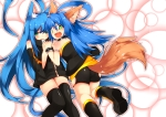 Konachan.com - 179599 2girls animal_ears blue_hair green_eyes long_hair original tagme_(artist) thighhighs