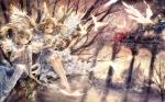 Konachan.com - 181172 animal animal_ears barefoot bird blue_eyes bunny_ears dress onineko original water wings