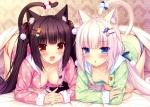Konachan.com - 183431 2girls animal_ears blush breasts catgirl cleavage no_bra original pajamas panties sayori striped_panties tail underwear vanilla_(sayori)