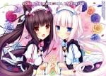 Konachan.com - 184163 2girls animal_ears black_hair blush calendar catgirl flowers long_hair maid original petals rose sayori vanilla_(sayori) watermark white_hair