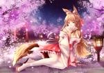 Konachan.com - 184991 animal_ears black_eyes breasts brown_hair cherry_blossoms cleavage fan foxgirl long_hair original petals skirt tail thighhighs torii yeluno_meng