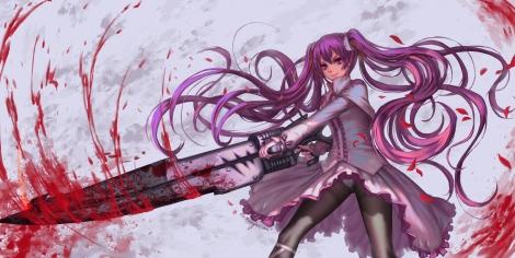 Konachan.com - 189295 akame_ga_kill! blood edenfox gun long_hair mine_(akame_ga_kill!) panties pantyhose purple_eyes purple_hair see_through twintails underwear weapon