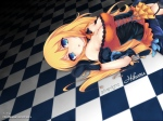 Konachan.com - 86967 aizawa_hikaru blonde_hair blue_eyes breasts chiyami cleavage gloves halloween microsoft