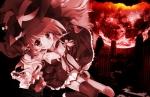 Konachan.com - 87839 breasts cleavage dress halloween hat kirisame_marisa moon night ribbons thighhighs tie touhou witch