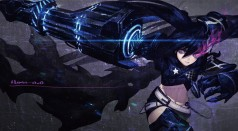 Konachan.com - 155346 black_hair black_rock_shooter han-0v0 insane_black_rock_shooter purple_eyes scar signed weapon