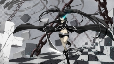 Konachan.com - 159551 bikini_top black_hair black_rock_shooter blue_eyes cross_akiha kuroi_mato long_hair navel sword twintails weapon