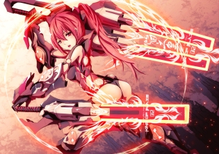 Konachan.com - 167109 ass long_hair mechagirl merontomari original ponytail red_eyes red_hair sword weapon