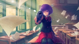Konachan.com - 168286 gun original paper purple_eyes purple_hair seifuku short_hair tyc001x weapon