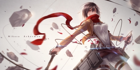 Konachan.com - 173071 black_hair brown_eyes mikasa_ackerman petals scarf shingeki_no_kyojin sword tpip_(aixuan) uniform weapon