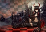 Konachan.com - 174633 black_hair black_rock_shooter boots bsl chain horns irino_saya long_hair red_eyes red_hair ruins shorts sword thighhighs weapon