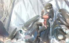 Konachan.com - 179670 boots brown_eyes brown_hair glasses gloves hat katana kikivi long_hair original sword thighhighs weapon