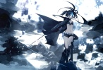 Konachan.com - 181447 bikini_top black_hair black_rock_shooter blue_eyes cape jpeg_artifacts kneehighs kuroi_mato long_hair navel shorts sword takka weapon