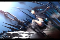 Konachan.com - 181702 black_hair black_rock_shooter blue_eyes boots chain hazfirst kneehighs kuroi_mato long_hair shorts sword twintails weapon